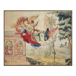 Mid-17th Century Antique Tapestry, Eros Bringing the Two Sisters of Psyché For Sale