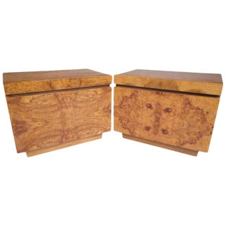 Burl Wood Mid-Century Nightstands by Roland Carter for Lane Furniture For Sale