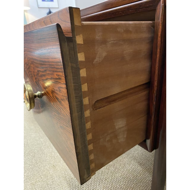 Metal Stunning Vintage Mid Century Modern Rosewood Executive Desk 1960s Brass Hardware Beautiful For Sale - Image 7 of 10