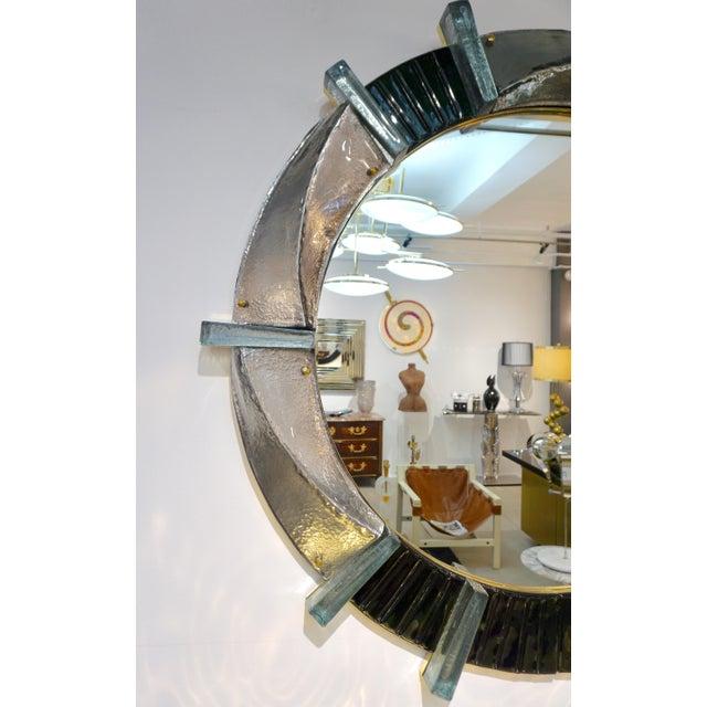 Italian Contemporary Bespoke Black Silver & Aqua Murano Glass Brass Round Mirror For Sale In New York - Image 6 of 12