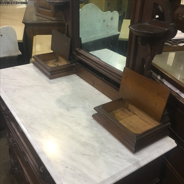 Antique Victorian Marble Top Dresser and Mirror - Image 5 of 12