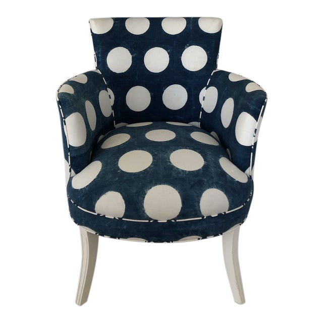 Les Indiennes Blue Reverse Dot Occasional Chair For Sale