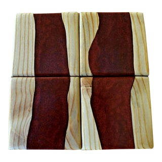 Resin Cabernet Red Recycled Wood Drink Coasters - Set of 4 For Sale