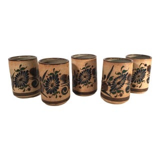 Vintage Ceramic Hand Painted Tumblers - Set of 5 For Sale