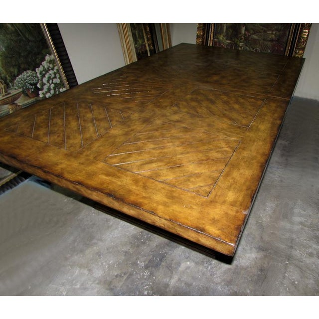 Rustic Matiland Smith Trestle-Base Parquet Top Dining Table For Sale In West Palm - Image 6 of 13