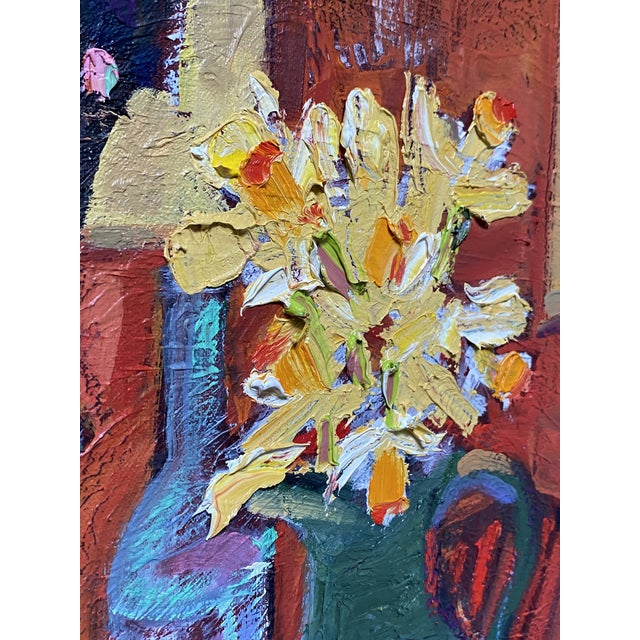 """""""Still Life With Flowers"""" Contemporary Tabletop Still Life Oil Painting by James Hartman For Sale - Image 4 of 4"""
