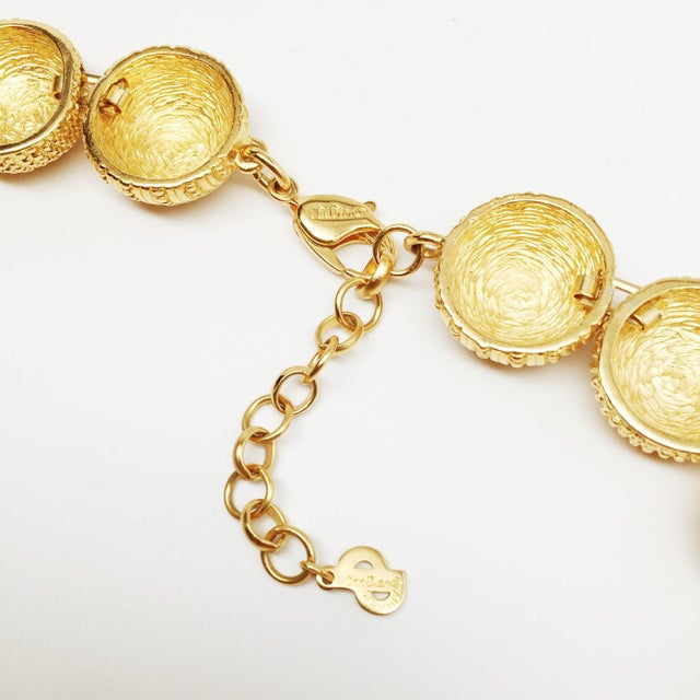 Modern Choker Necklace With an Etching Work on Each of the Hemisphere Beads For Sale - Image 3 of 4