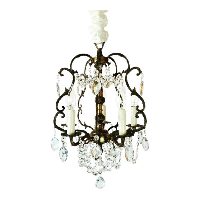 1910s Baroque Cage Style Cast Bronze 5-Light Antique Crystal Chandelier For  Sale - 1910s Baroque Cage Style Cast Bronze 5-Light Antique Crystal