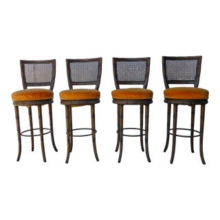 1970s Vintage Faux Bamboo Walnut Bar Stools – Set of 4 For Sale