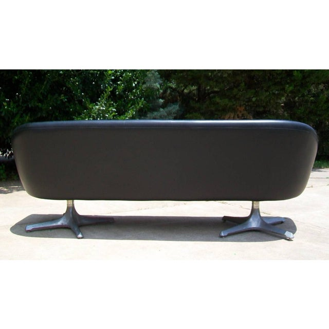 Black Chromcraft Mid Century Modern Black Tufted Couch For Sale - Image 8 of 11