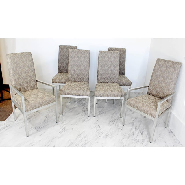 For your consideration is a stunning set of six aluminum base dining chairs. Two armchairs and four side chairs....