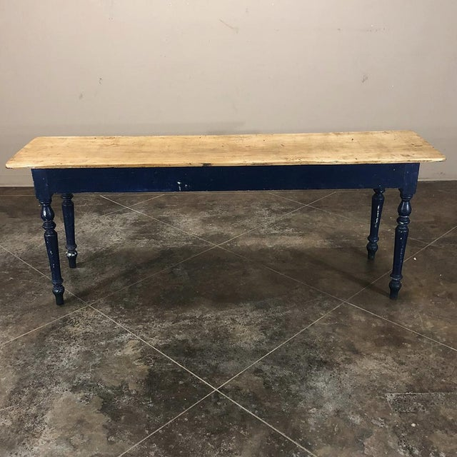 Antique 19th Century Painted Sofa Farm Table With Stripped Top For Sale - Image 12 of 13