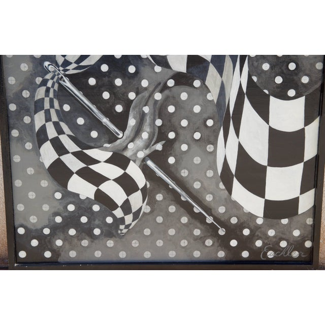 Modern Large Black and White Abstract Painting by Euchler For Sale - Image 3 of 5