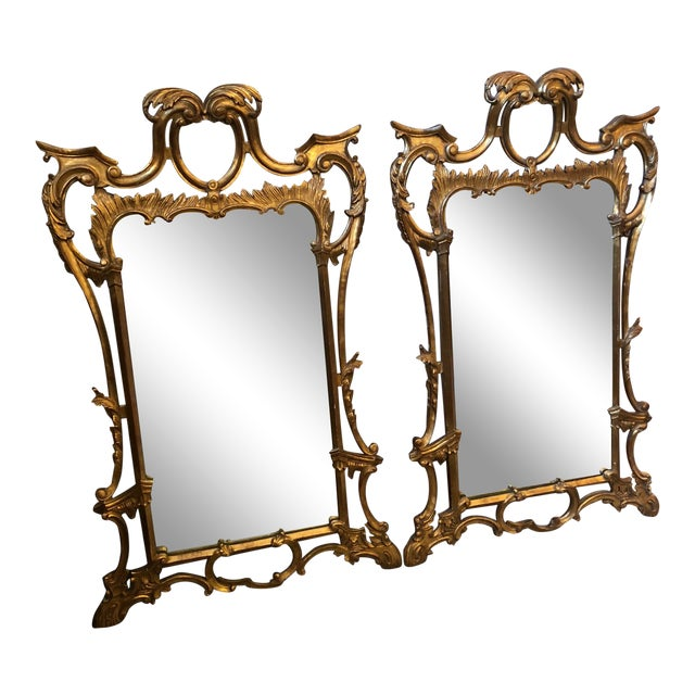 Chippendale Style Mid Century Hand Carved Gilt Italian Rococo Mirrors - a Pair For Sale