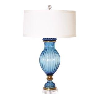 Blue Marbro Italian Glass Lamp, C. 1950 For Sale
