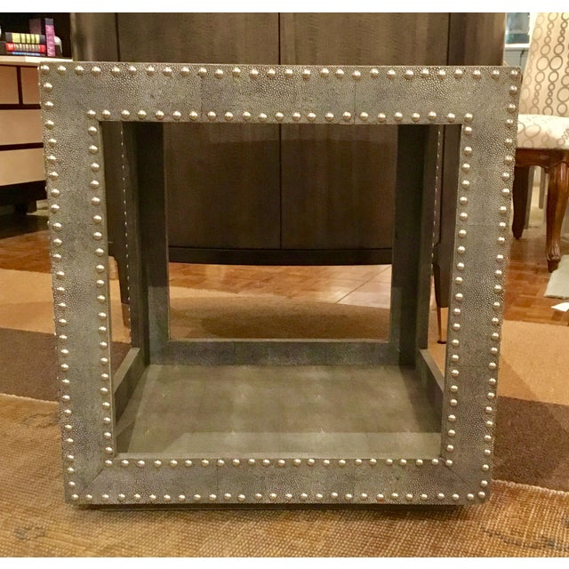 Regina Andrews Feaux Python Studded Accent Cube Table For Sale - Image 9 of 9