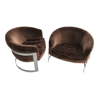 1970s Mid-Century Modern Milo Baughman Cantilevered Brown Velvet Chairs - a Pair