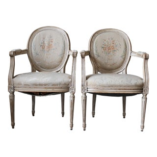 Louis XVI Style Painted Chairs - A Pair For Sale
