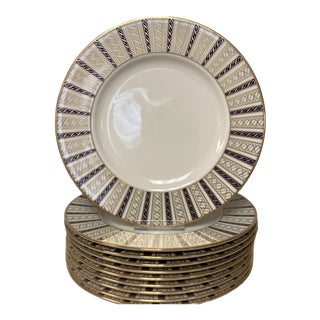 Lenox Navy & Gold Accent Brunch Lunch Plates Set of 8 For Sale
