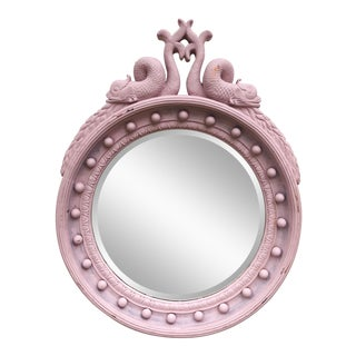 Vintage Hand-Painted Circular Dolphin Mirror