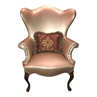 Antique Gold Upholstered Wingback Chair