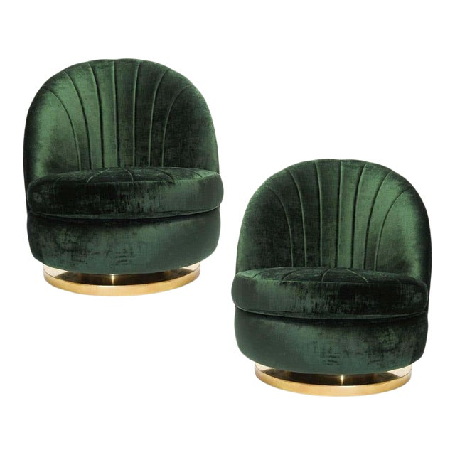 Green Milo Baughman Tilt and Swivel Lounge Brass Chairs - A Pair For Sale