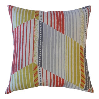 Parkin Red, Gray and Green Stripes Sunrise Pillow For Sale