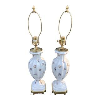 Porcelain Bouquet Cobalt Gold Fluted Lamps - a Pair For Sale