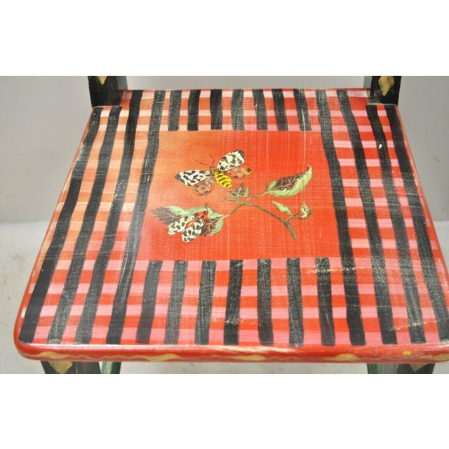 Late 20th Century Late 20th Century French Country Style Handpainted Fruit Bird Butterfly Side Chair For Sale - Image 5 of 11