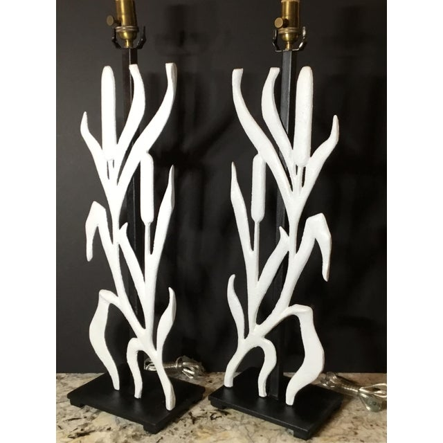 Abstract Cattail Iron Table Lamps - a Pair For Sale - Image 9 of 12