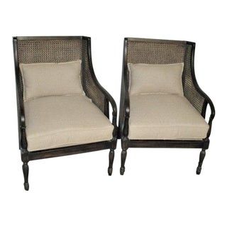 Boho Chic Double Cane Rattan Arm Chairs With Natural Linen Cushions - a Pair