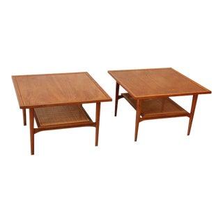 Kipp Stewart for Drexel Walnut Side Tables - A Pair For Sale