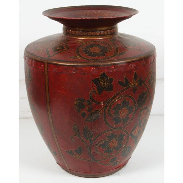 Brown Kashmiri Indo-Raj Red Hand-Painted Metal Jar Vessel For Sale - Image 8 of 8