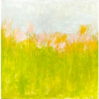 """Bucolic"" Contemporary Abstract Landscape Mixed-Media Painting by Sarah Trundle For Sale"