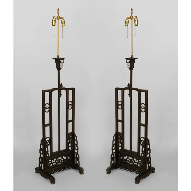 Black Asian Chinese Hardwood Floor Lamp For Sale - Image 8 of 9