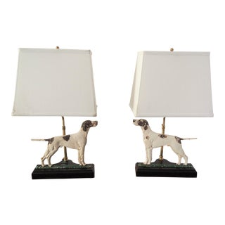 Pair of Painted Cast Metal Pointer Dog Lamps For Sale