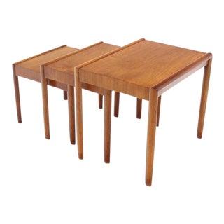 Set of Three Walnut Mid Century Modern Nesting Tables For Sale