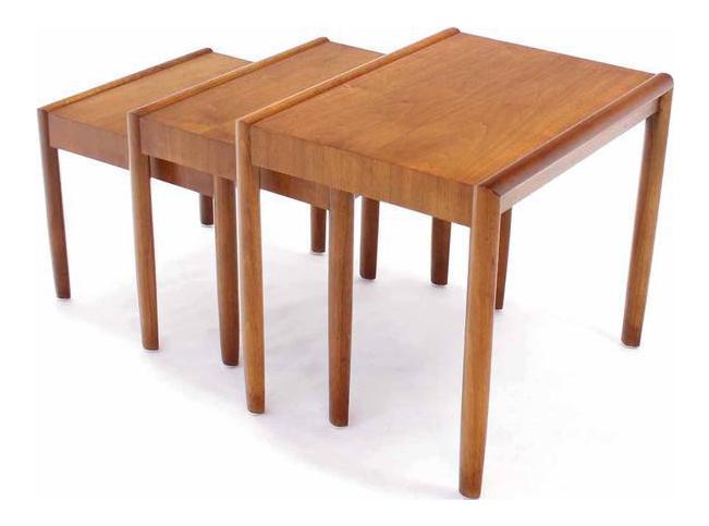 Set Of Three Walnut Mid Century Modern Nesting Tables   Image 1 Of 8
