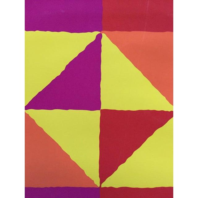 "Yellow 1960s Op-Art Sidney Budnick Silkscreen ""Forest Fire"" For Sale - Image 8 of 10"