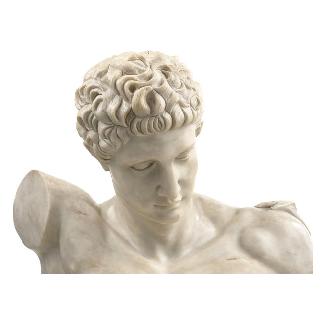 Early 20th Century Classical Marble Bust of Hermes Holding Dionysus After the Antique by Praxiteles For Sale - Image 5 of 13
