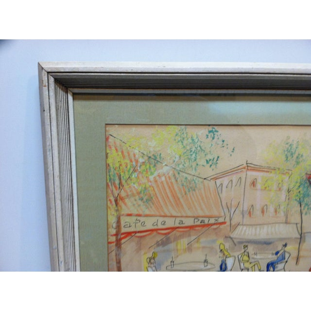 "French 1950s Vintage ""Cafe De La Paix"" Framed & Matted Hand-Colored Drawing For Sale - Image 3 of 7"