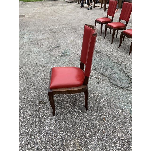 1940s Vintage French Art Deco Solid Mahogany Dining Chairs - Set of 6 For Sale - Image 12 of 13