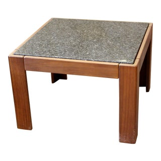 Mid Century Modern Tobia Scarpa Square Wood & Marble Side End Table 1960s Italy For Sale