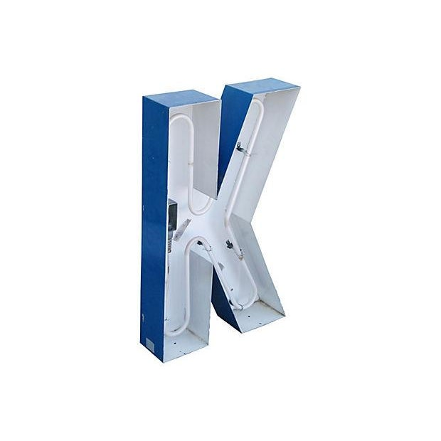 Lg. Industrial Blue & White Metal Marquee Letter K - Image 3 of 6