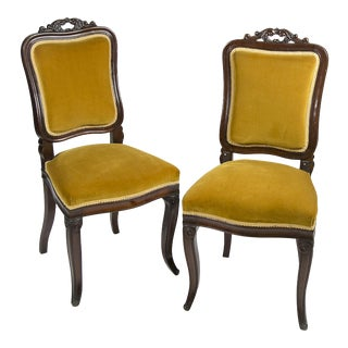 Antique Velvet Victorian Style Accent Chairs - A Pair