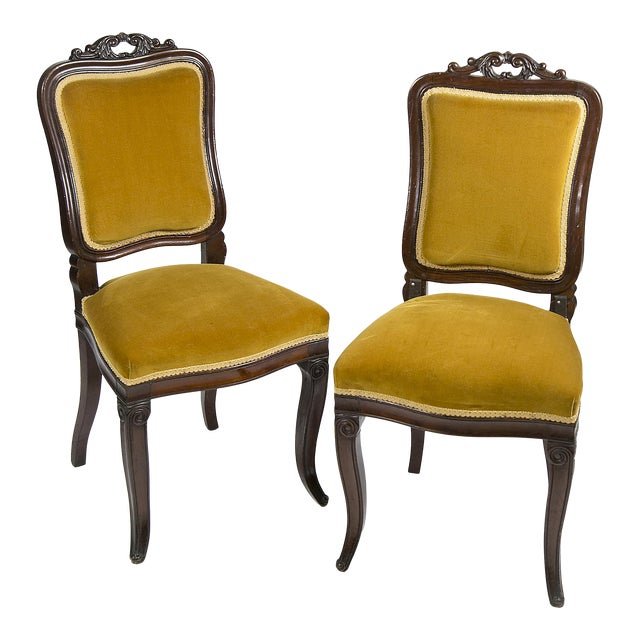 Antique Velvet Victorian Style Accent Chairs - A Pair For Sale - Antique Velvet Victorian Style Accent Chairs - A Pair Chairish
