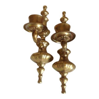 Vintage Brass Candle Sconces - A Pair