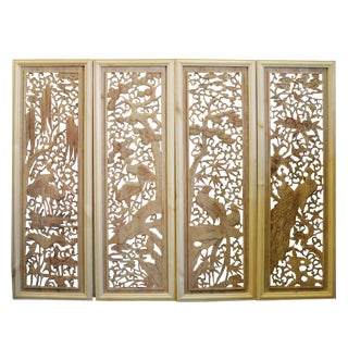 Chinese Set of 4 Rectangular Flower Birds Wooden Wall Plaque Panels For Sale