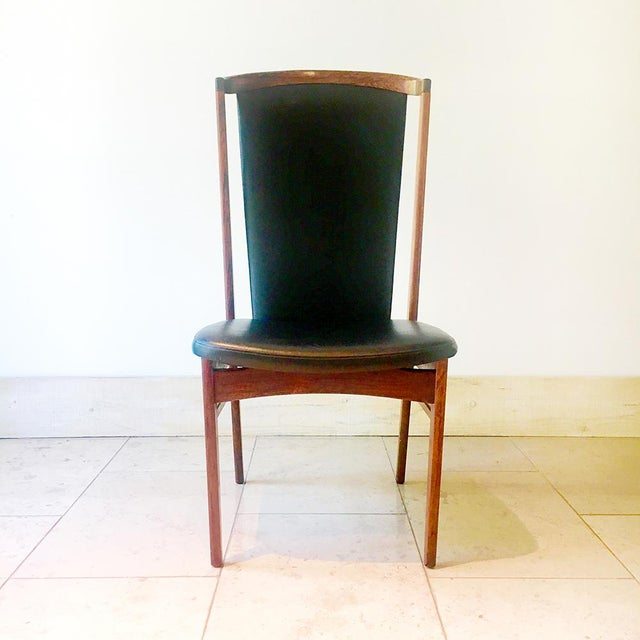 Substantial Danish Faux Black Leather Upholstered Desk Chair designed by Eric Buck for Erik Christensen 1960s NB: These...
