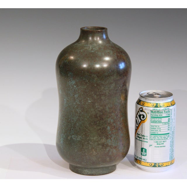 Vintage Bronze Old Japanese Patinated Verdigris Vase For Sale - Image 9 of 11